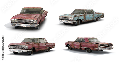 3d-renders of rusty muscle car