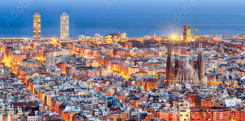 Panorama of Barcelona at dawn Wallpaper Mural