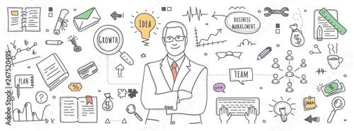 Fotografía Business management in doodle illustration