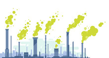 Industrial Pipes With Green Toxic Smoke In Flat Style Isolated, Silhouette Of Industrial Zone With Factories And Pipes With Harmful Emissions Of Contaminated Air, Environmental Pollution