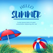 Hello summer time with beach landscape holiday travel with balloon and umbrella relax on tropical