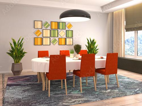 Fototapeta Interior dining area. 3d illustration obraz na płótnie