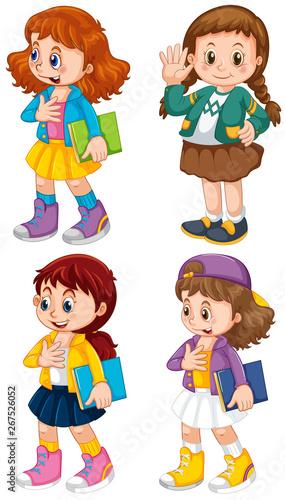 Fotobehang Kids Set of cute girl character