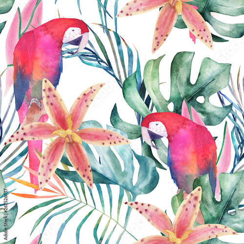 Tropical seamless pattern with parrots,  orchids and leaves. Watercolor summer print. Exotic floral hand drawn illustration