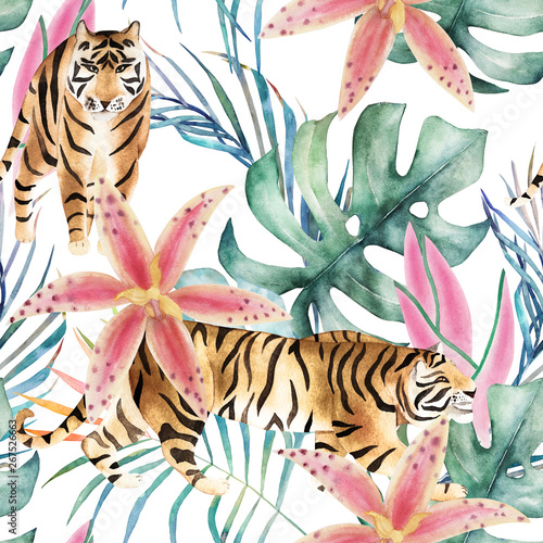 Tropical seamless pattern with tigers, orchids and leaves. Watercolor summer print. Exotic floral hand drawn illustration