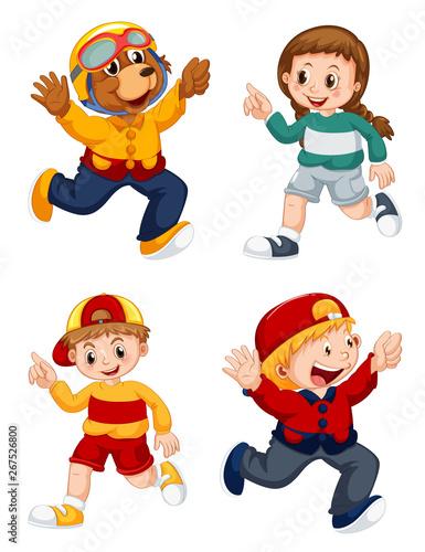 Fotobehang Kids Set of cartoon character