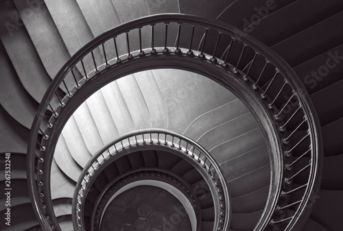 Fototapety, obrazy: Antique spiral staircase in black and white.