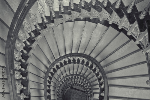 Fototapety, obrazy: Historic stairs in black and white.