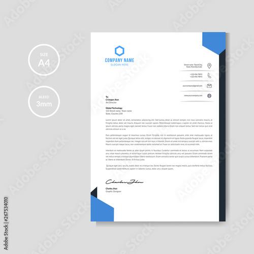Fototapeta Modern blue letterhead background obraz