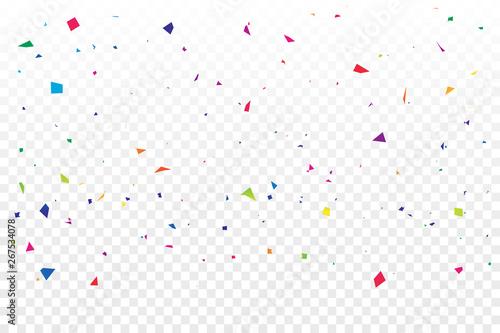 Fototapeta Colorful Confetti On Transparent Background. Celebration & Party. Vector Illustration obraz na płótnie