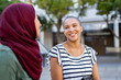 Leinwandbild Motiv Muslim woman with friend