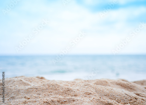Foto auf AluDibond Licht blau Blur beautiful beach summer background blur
