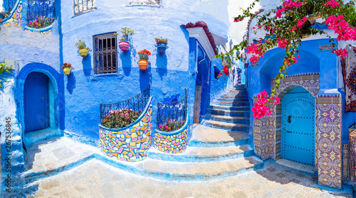 Foto op Canvas Marokko Amazing street and architecture of Chefchaouen, Morocco, North Africa