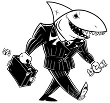 Business Shark Dark Suit Line Art