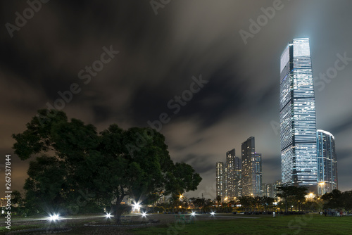 Fotografering  Skyline of downtown of Hong Kong city at night