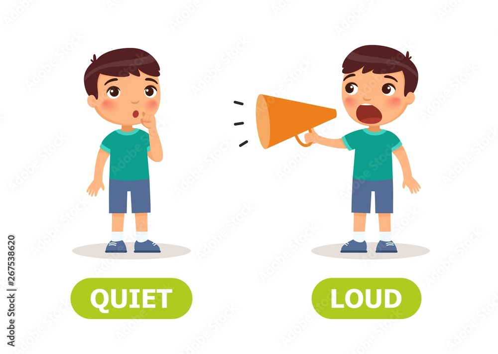 Fototapeta The little boy screams in a megaphone and the girl is silent. Illustration of opposites loud and quiet. Card for teaching aid, for a foreign language learning. Vector illustration,, cartoon style.