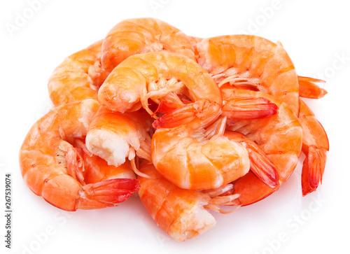 Fotografie, Obraz  Cooked shrimp on white background