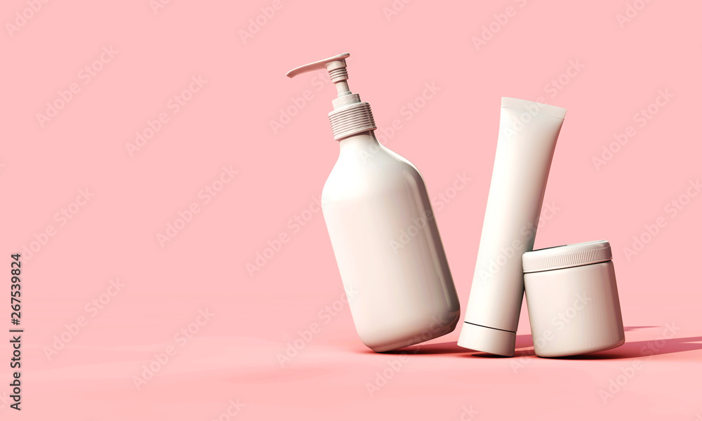 Fototapeta Blank white cosmetic skincare makeup containers. 3D Render