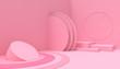 Leinwanddruck Bild - Podium  Geometric shape minimal and Modern concept Art pastel  pink wall scene on pink background - 3d rendering