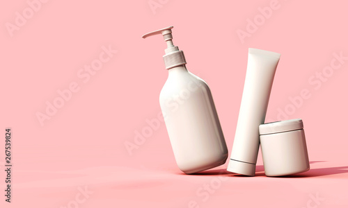 Fotomural  Blank white cosmetic skincare makeup containers. 3D Render