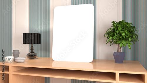 Aluminium Prints Bonsai Blank picture on the table. 3d illustration