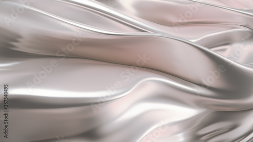 Luxurious silver background with satin drapery. 3d illustration, 3d rendering.