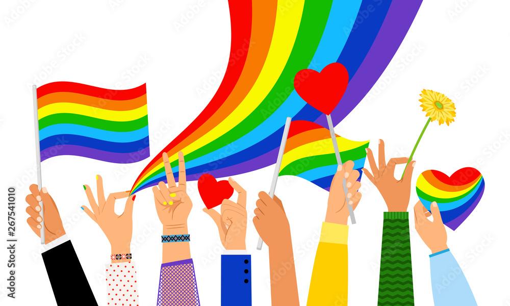 Fototapeta Lgbt hands. Hand holding pride flag or transgender sign isolated on white background, vector illustration