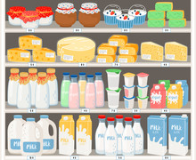 Dairy Products In Supermarket....