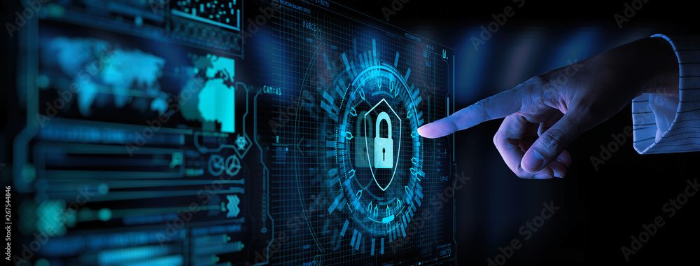 Fototapeta Data protection Cyber Security Privacy Business with Woman hand pointing with UI.Internet Technology Concept.
