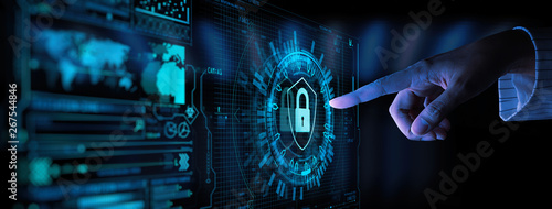 Fotografía  Data protection Cyber Security Privacy Business with Woman hand pointing with UI