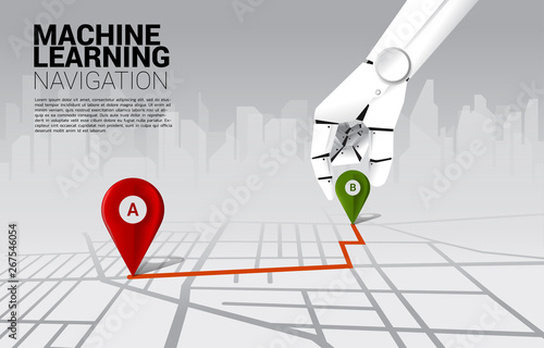 Photo  close up hand of robot place location pin marker on direction route on road map