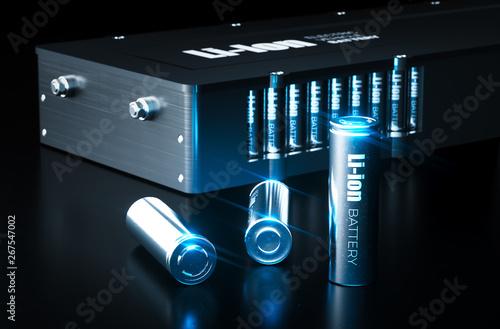 Fototapeta Modern lithium ion battery technology concept