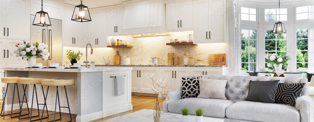 Fototapeta Luxurious interior design of white kitchen, dining room with windows and living room in one space