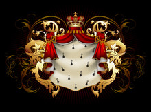 Heraldic Shield With A Crown And Royal Mantle, Richly Ornamented, On A Black Background. High Detailed Realistic Illustration