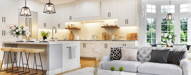 Luxurious interior design of white kitchen, dining room with windows and living room in one space