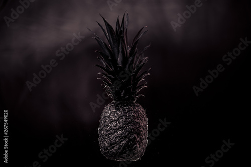 Fototapety, obrazy: Black pineapple on black background studio photography of delicious foodstuffs