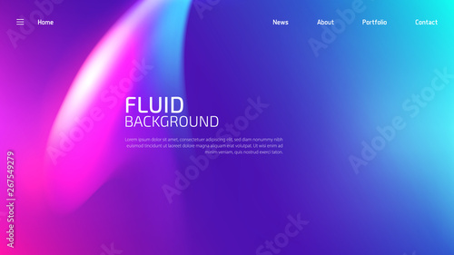 Fotografie, Obraz  Trendy fluid gradient background for landing page background, colorful abstract liquid 3d shaped
