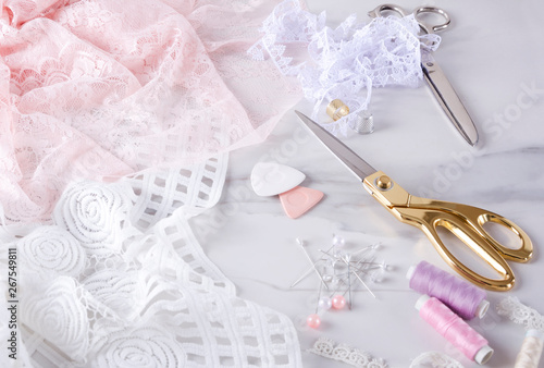 Photo  Process of sewing elegent lingerie