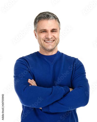 Foto  Portrait of handsome mature man on white background
