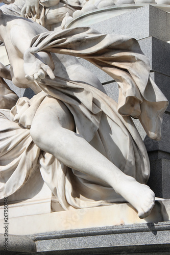 baroque statue in front of the parliament in Vienna (Austria) Canvas Print