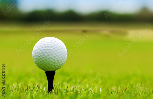 Poster Golf White Golf ball on green course to be shot on blurred beautiful landscape of golf course in bright day time with copy space. Sport, Recreation, Relax in holiday concept