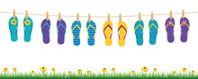 Colorful Flip Flops Hanging On...