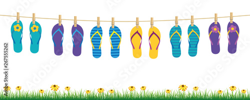colorful flip flops hanging on a rope on white background with grass and flowers summer holiday design vector illustration EPS10