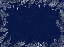 Christmas Poster - Illustration. Vector Illustration Of Christmas Blue Background With Silver Branches Of Christmas Tree.