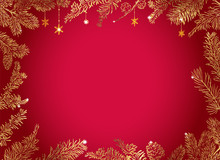 Christmas Poster - Illustration. Vector Illustration Of Christmas Red Background With Golden Branches Of Christmas Tree.