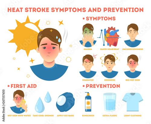 Heat stroke symptoms and prevention infographic. Risk Fototapeta