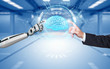 canvas print picture - Businessman Robot Hands Brain Hologram HUD Network