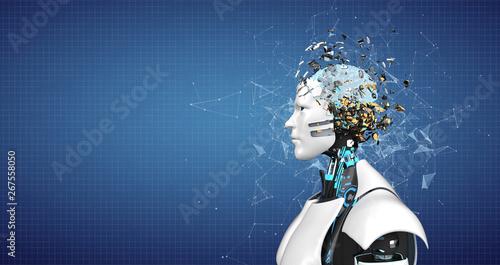 Fototapety, obrazy: Humanoid Robot Splintered Head Brain
