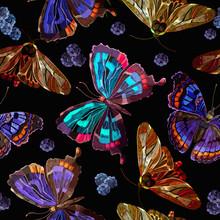 Embroidery Butterflies And Berries Seamless Pattern. Night Garden Art. Template For Clothes, Textiles, T-shirt Design
