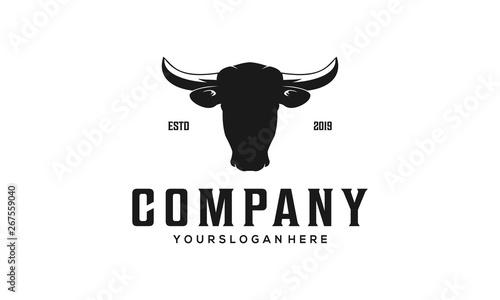 Tableau sur Toile Cow head vintage logo